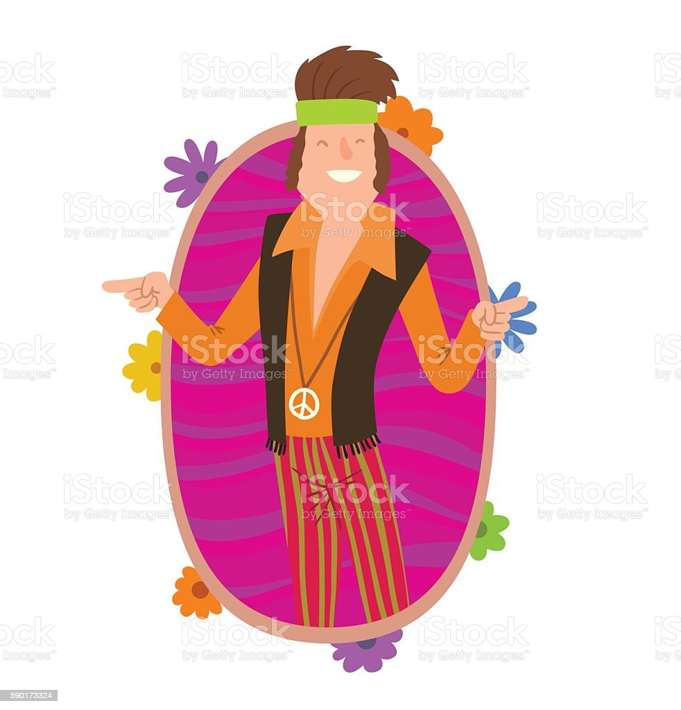 Oval frame, man hippie with curly brown hair vector art illustration