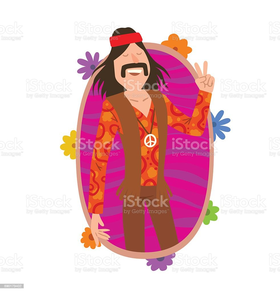Oval frame, man hippie with long black hair and mustache vector art illustration