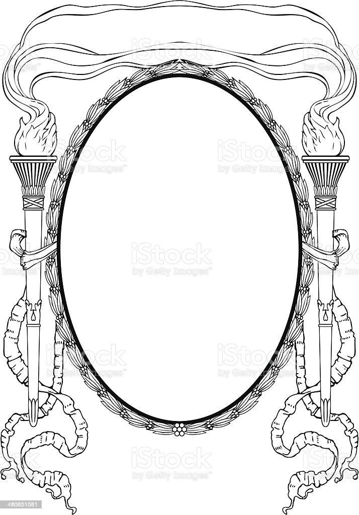 oval frame with torch light ribbons for portrait vector art illustration