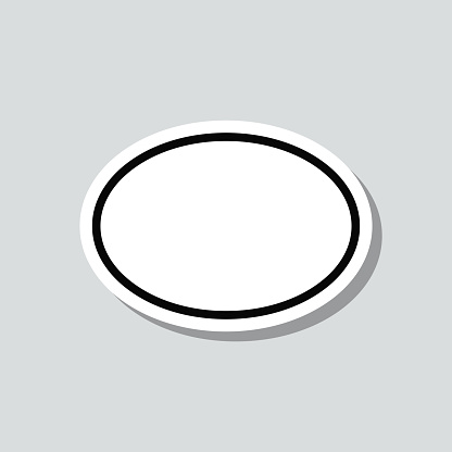 Oval. Icon sticker on gray background
