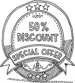 Hand-drawn vector drawing of an oval marketing label: 50% Discount - Special Offer. Black-and-White sketch on a transparent background (.eps-file). Included files: EPS (v8) and Hi-Res JPG.