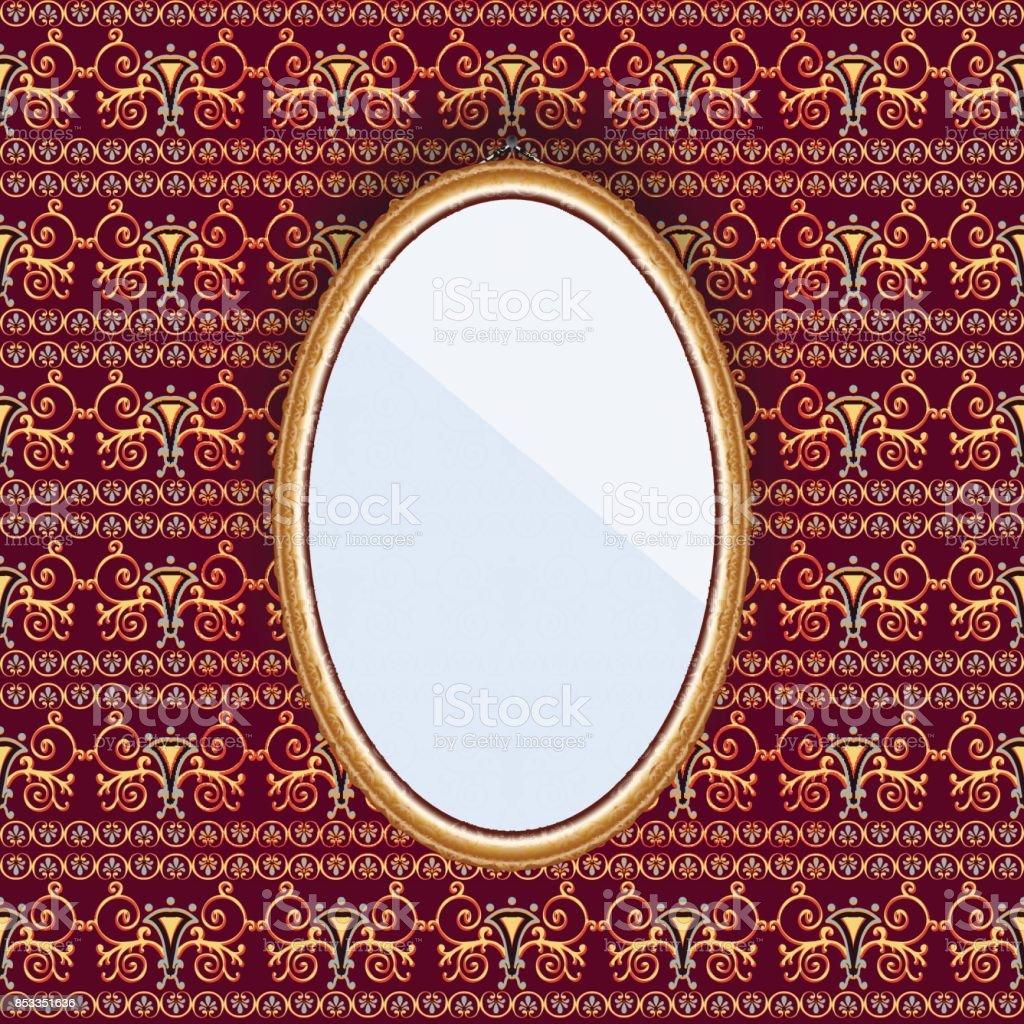 模様付きの壁紙が付いている壁のフレームに楕円形のミラー からっぽ