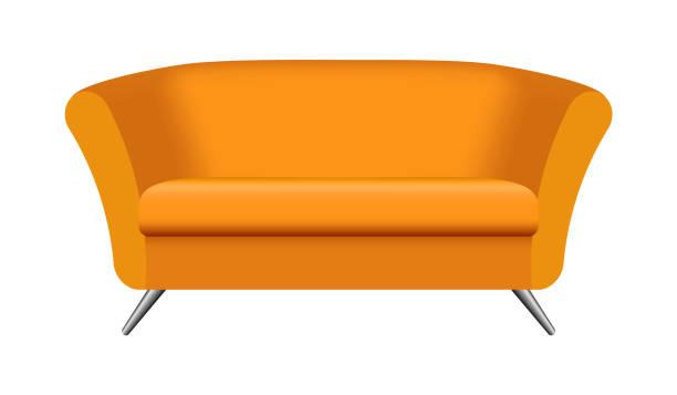 ovale orange sofa mockup, realistischen stil - stuhllehnen stock-grafiken, -clipart, -cartoons und -symbole