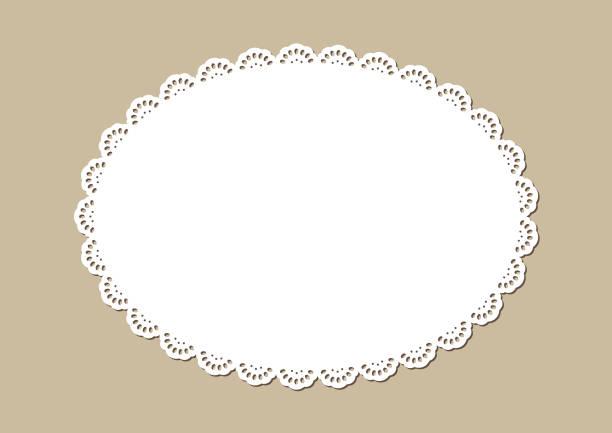 tischset oval design - gehäkelte lebensmittel stock-grafiken, -clipart, -cartoons und -symbole