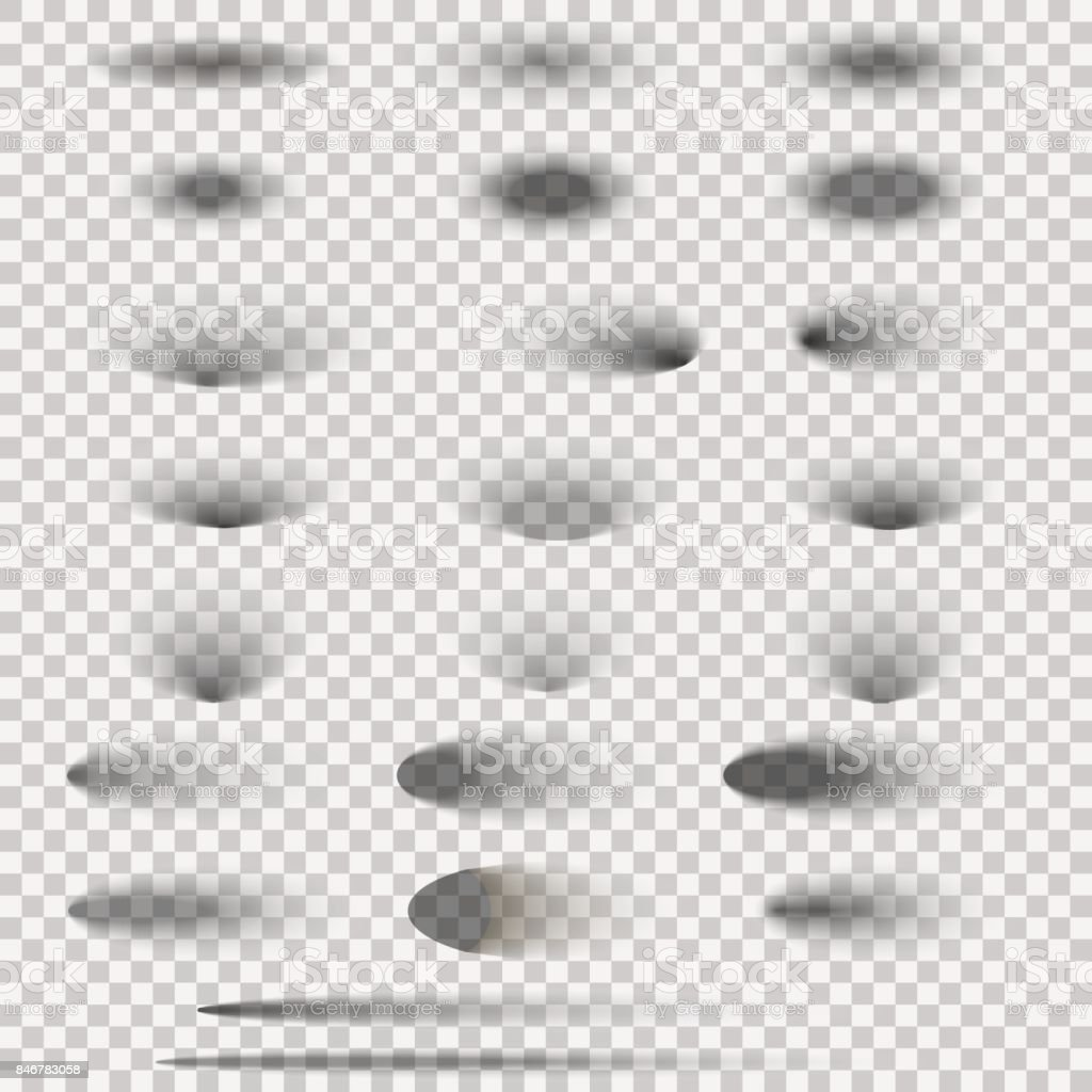 Oval shadow set isolated on transparent background. Vector illustration. vector art illustration