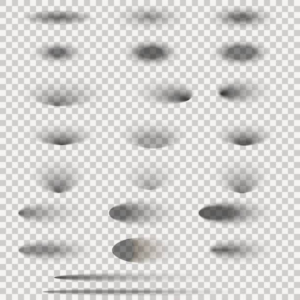 oval shadow set isolated on transparent background. vector illustration. - тень stock illustrations