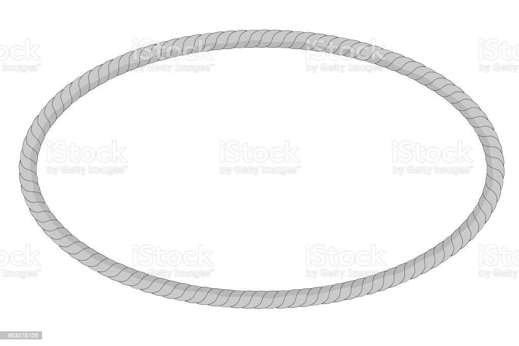 Ovale Form Rahmen Aus Grauen Seil Für Ihr Element Design Stock ...