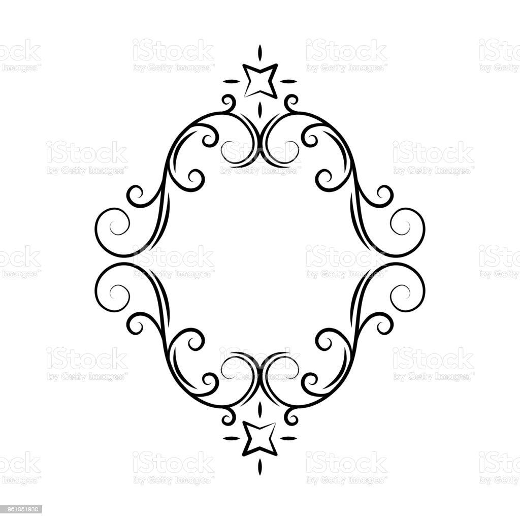 Oval Vintage Filigrane Rahmen Grenze Gravur Retroornament Muster Im ...