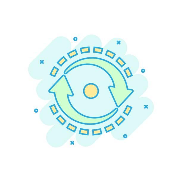 oval mit pfeile symbol im comic-stil. konsistenz wiederholen vektor cartoon-illustration auf weißem isolierten hintergrund. reload rotation business concept splash-effekt. - splash grafiken stock-grafiken, -clipart, -cartoons und -symbole