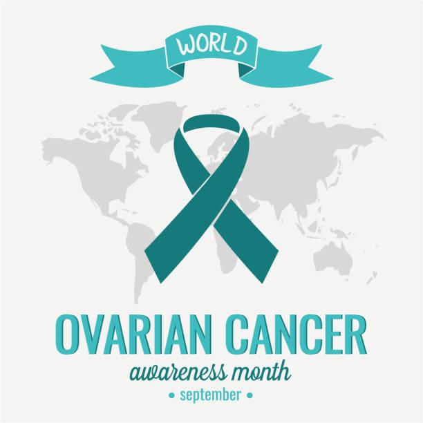 ovarian cancer awareness september - ovarian cancer ribbon stock illustrations