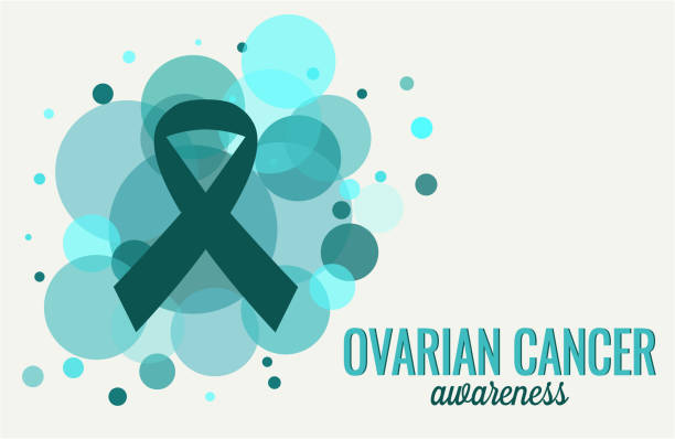ovarian cancer awareness - ovarian cancer ribbon stock illustrations