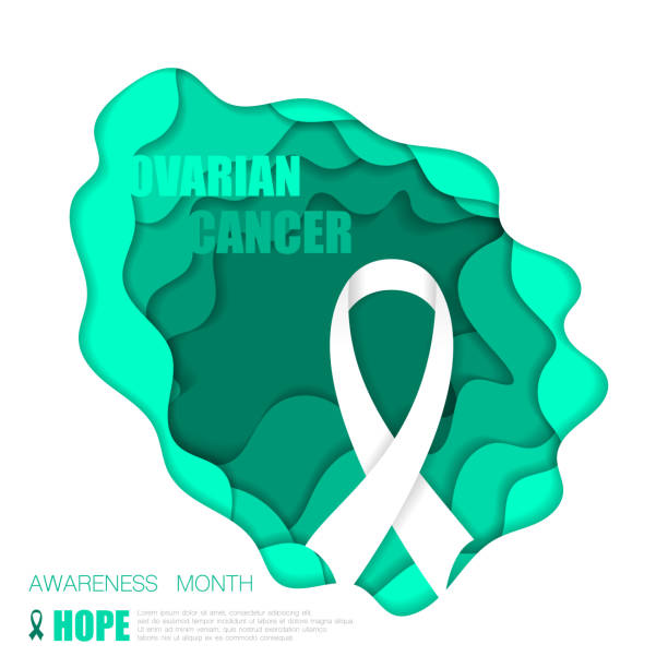 ovarian cancer background - ovarian cancer ribbon stock illustrations