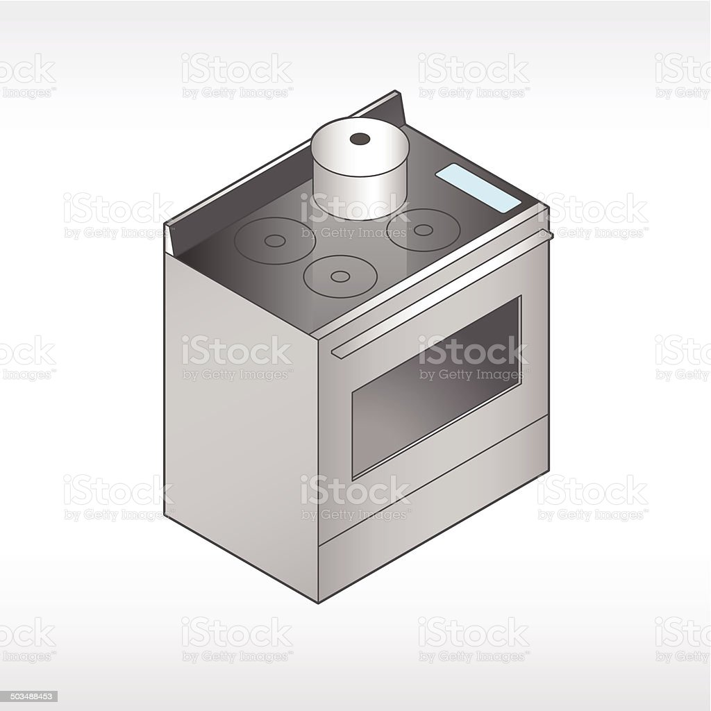 Oven And Stove Illustration vector art illustration