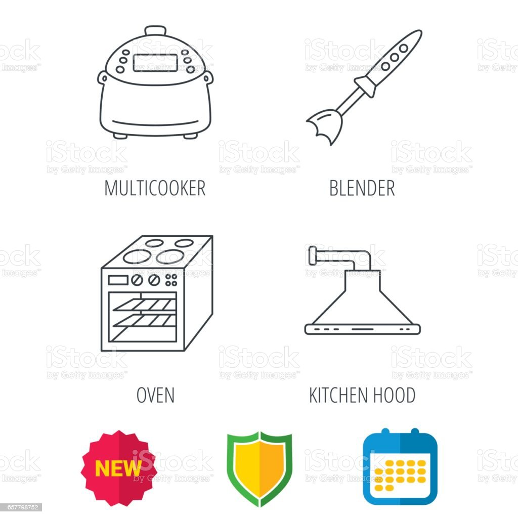 Oven Kitchen Hood And Blender Icons Stock Vector Art More Images Automatic Range Royalty Free