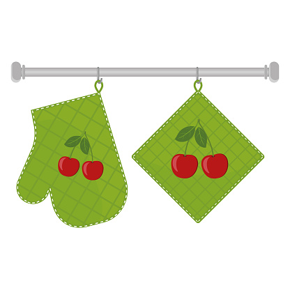 Oven mitt and oven mitt hanging on the rack on hooks, color isolated vector illustration in the flat style.