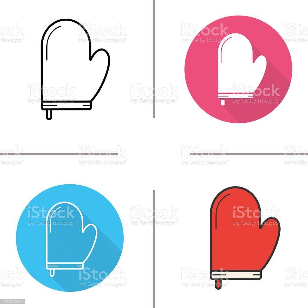 Oven mitt glove icons vector art illustration