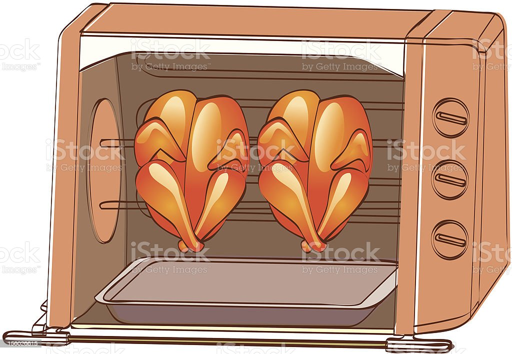 oven roasted two whole chicken royalty-free stock vector art