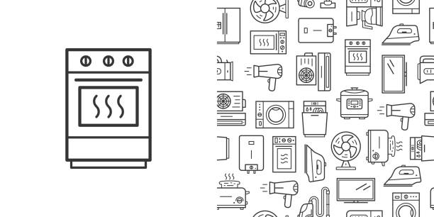 Oven sign and vector seamless pattern with household appliances line style icons Oven sign and vector seamless pattern with household appliances. Line style icons isolated on white background dishwashing machine stock illustrations