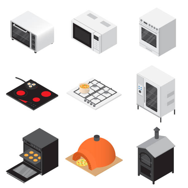 ilustrações de stock, clip art, desenhos animados e ícones de oven stove fireplace icons set, isometric style - baking bread at home