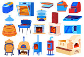Oven stove vector illustrations. Cartoon flat set for cook food in kitchen with electric or gas hob stove, old iron wood burning stove with firewood and fire, microwave, BBQ grill isolated on white