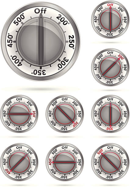 Oven Temperature Knobs Graphics representing oven temperatures. Can be used to show how warm to turn the oven to in baking or cooking instructions. oven stock illustrations