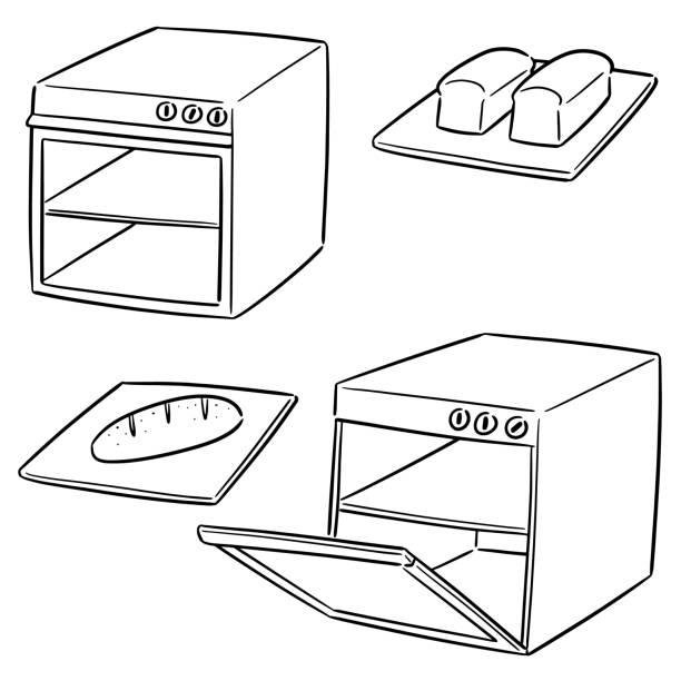ilustrações de stock, clip art, desenhos animados e ícones de oven - baking bread at home
