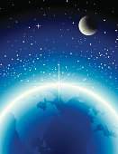 Vector illustration of Earth, stars and moon.