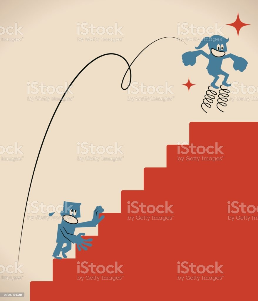 Over obstacles, smiling businesswoman (woman, girl) jumping higher with coiled spring, she has drawn ahead of her competitor vector art illustration
