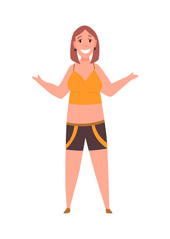 Over size woman. Adult lush lady in sport clothe flat cartoon style. Female character with overweight. Vector person.