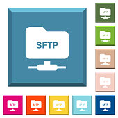 FTP over SSH white icons on edged square buttons