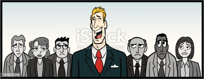 Great illustration of an overbearing boss with his office staff. Perfect for a business or employment illustration. EPS and JPEG files included. Be sure to view my other illustrations, thanks!