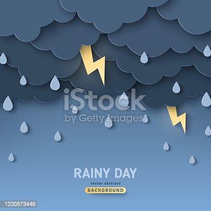 istock Overcast sky, thunder and lightning 1220573445