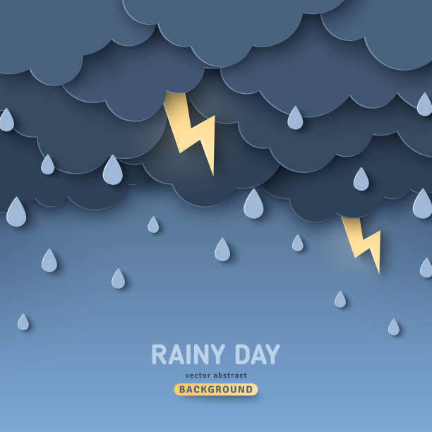 Overcast sky, thunder and lightning Overcast sky, thunder and lightning in paper cut style. Vector illustration. Rainy day concept with dark clouds. storm stock illustrations