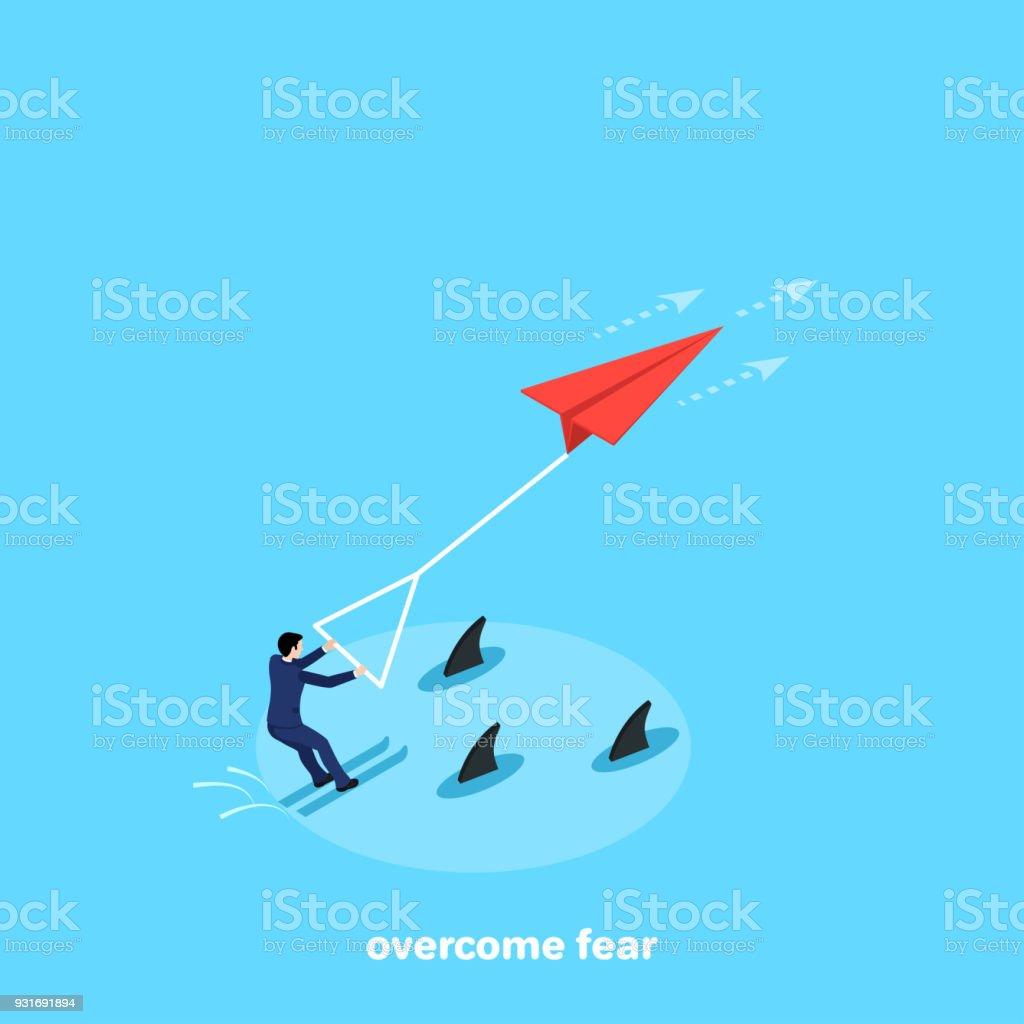 overcome fear vector art illustration