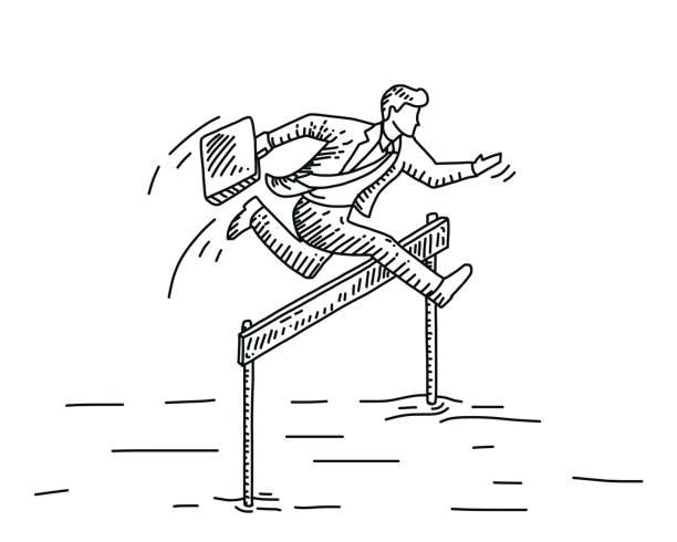 hindernisse zu überwinden - langstreckenlauf stock-grafiken, -clipart, -cartoons und -symbole