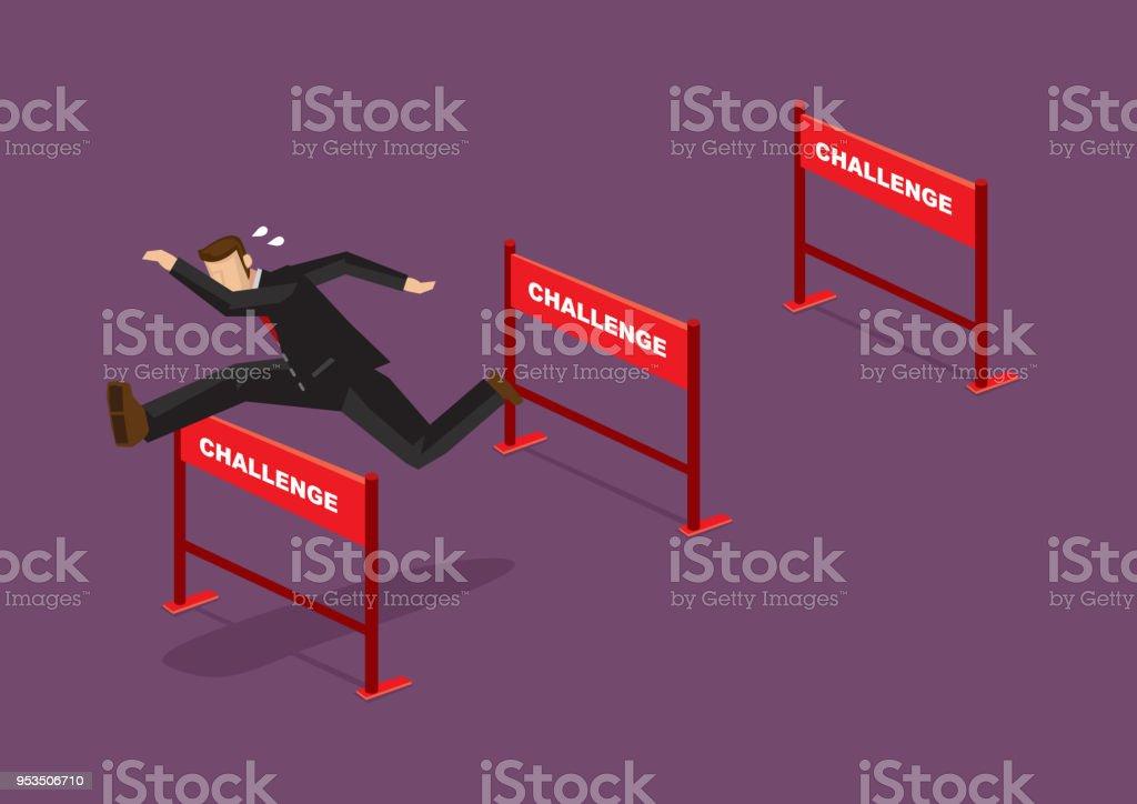 Overcoming Challenges Business Cartoon Vector Illustration vector art illustration