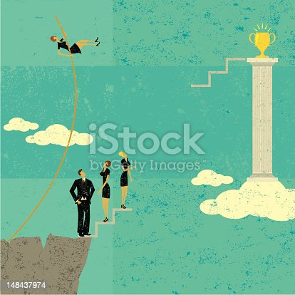 A businesswoman pole vaulting over other business people to achieve her goal. The people and background are on separate labeled layers.