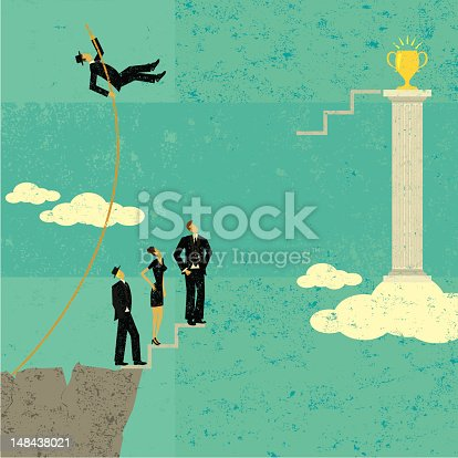 A businessman pole vaulting over other business people to achieve his goal. The people and background are on separate labeled layers.