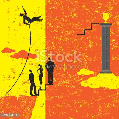 A businessman pole vaulting over other business people to achieve his goal.