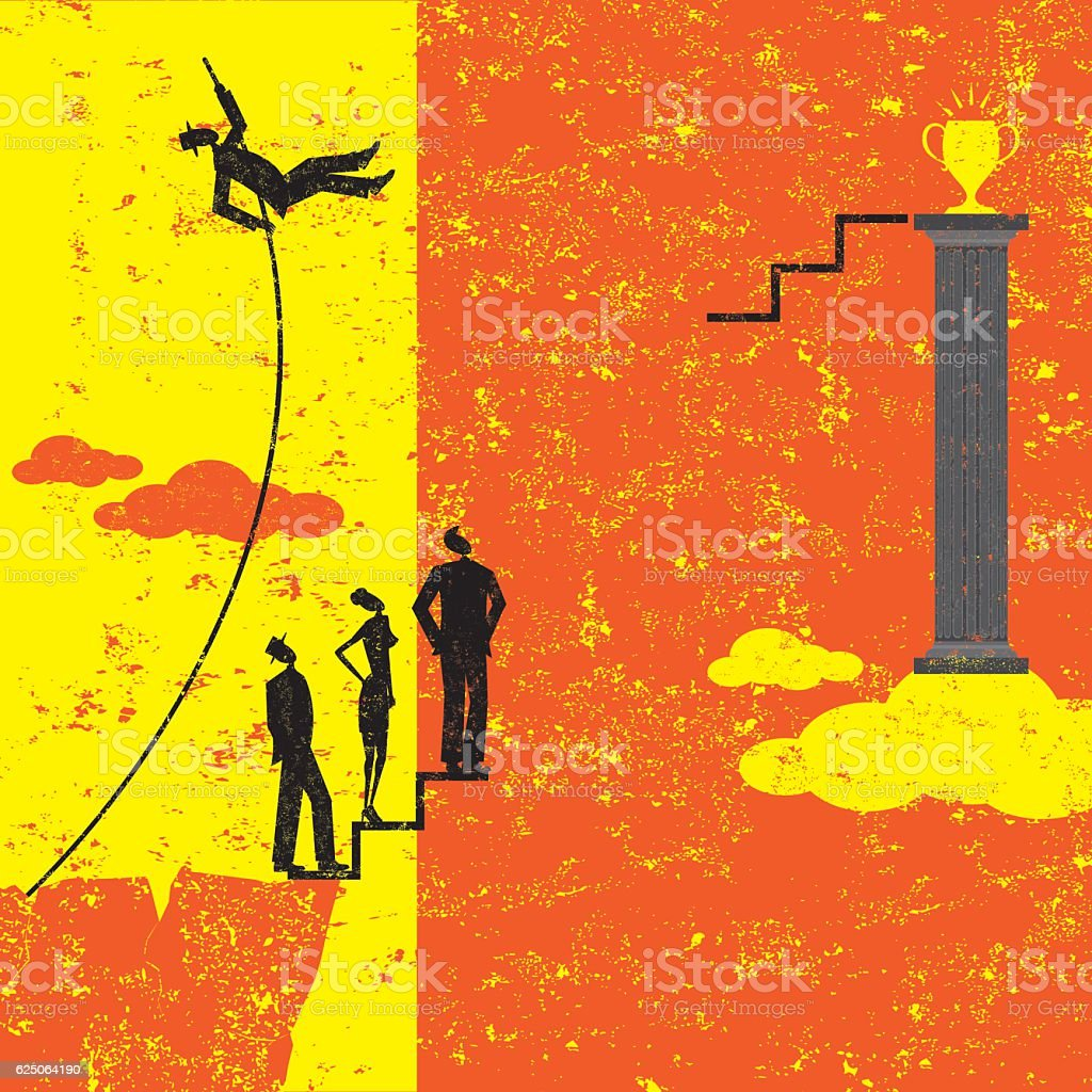Overcoming Obstacles vector art illustration