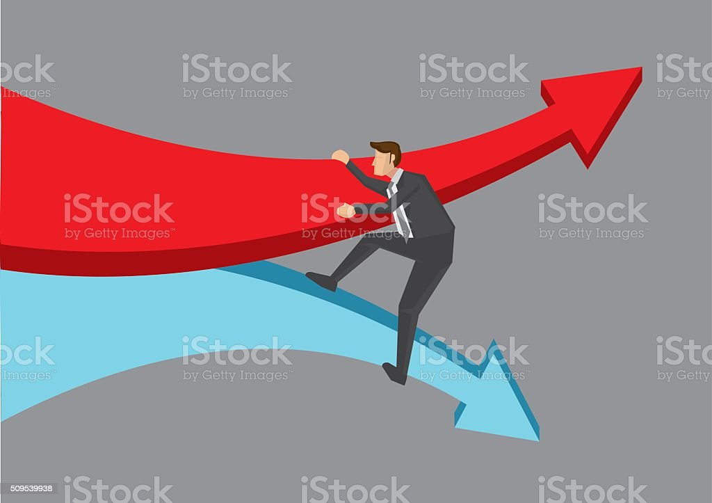 Overcoming Tide of Change in Business vector art illustration