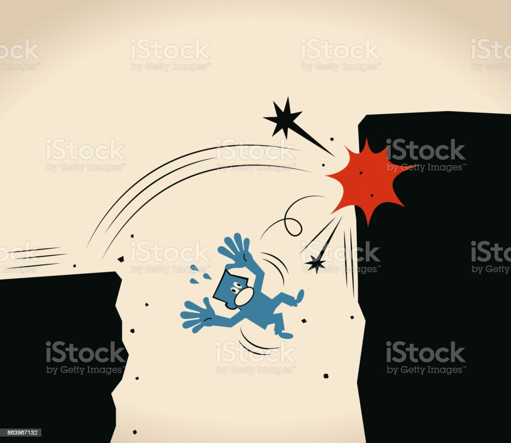 Over-confident, Businessman jumping off cliff (abyss) for higher level but failing vector art illustration