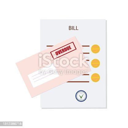 istock Overdue, unpaid or past due bill. An expense document with a delay payment and envelope. Debt or past purchase notice.Financial data and red stamp. Vector 1312386718