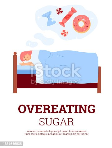 istock Overeating sugar banner with woman seeing sweets, flat vector illustration. 1331646806