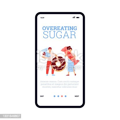istock Overeating sugar onboarding screen mockup, flat cartoon vector illustration. 1331646807
