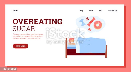 istock Overeating sugar website with woman sees sweets in dreams, vector illustration. 1331646808