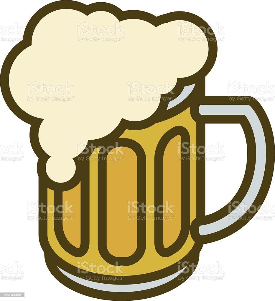 Overflowing Beer Mug with Overflow vector art illustration