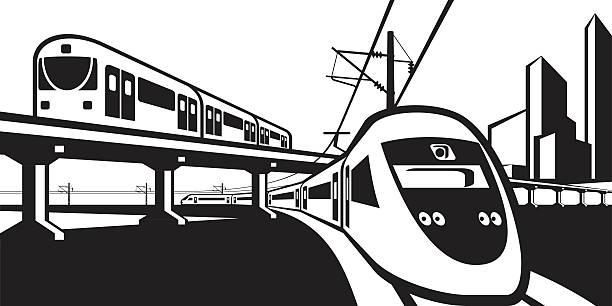 Overground rail transportation Overground rail transportation - vector illustration high speed train stock illustrations
