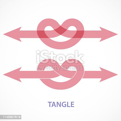 Directional arrow with overhand knot to representing conceptual tangle.