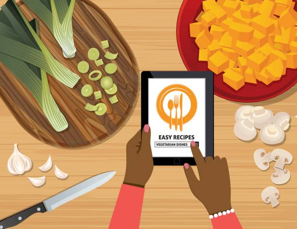 overhead angle of a person using apps online for cooking - woman cooking stock illustrations